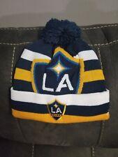 New Adidas LA Los Angeles Galaxy MLS Soccer Football Kuff W/ Pom Knit Hat Cap