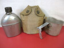 WWII US Army M1910 Dismounted Canteen, Cup & Early Khaki Cover Dated 1942 & 1943