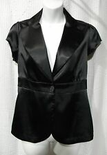 Vanity Size M Black Satin One Button Front Top
