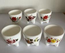 X6 Vintage Arcopal France Floral Designs Ceramic Egg Cups