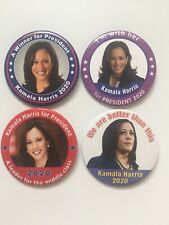 4 2020 Senator Kamala Harris for President 3 inch Buttons Limited Gift Set Pins