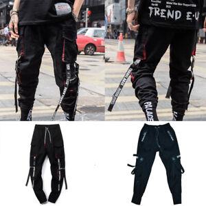 Mens Black Cargo Pants Trousers Fashion Casual Hip Hop Harem Pants Sweatpants
