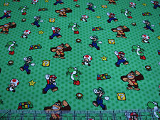1 Yard Quilt Cotton Fabric - Springs Nintendo Super Mario Characters Toss Green
