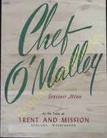 Vintage Restaurants Menu's Chef O'Malley Souvenir Menu Spokane Washington