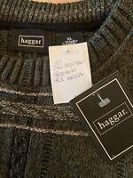 "Haggar Mens Large Knit Sweater Olive Long Sleeve Crew Neck XL ""Grandpa""  NWT"