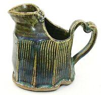 Vintage Studio Art Pottery Pitcher Eclectic Green Blue Glaze 12 oz EUC