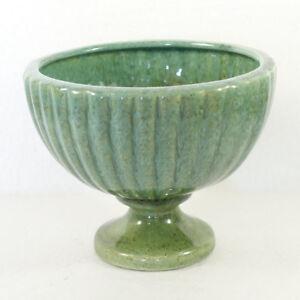 Wide Mouth Vintage Haeger Pottery Drip Sage Green & Olive Pedestal Planter Vase