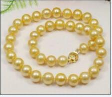 "Hot AAA 8-9mm round south sea gold Pearl Necklace 18"" 14K yellow gold"