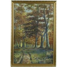 Original Framed English Antique Autumn Woodland Landscape Painting Signed 1916