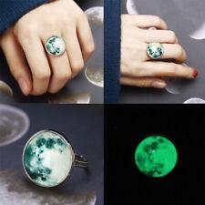 Glow In The Dark Ring Full Moon Glass Luminous in the dark Silver Ring Women