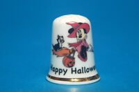 Happy Halloween from Minnie Mouse & Her Black Cat China Thimble  B/174