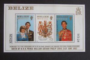 Belize 1982 Royal Baby William MS720 Miniature small type OP overprint MNH UM