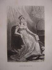 Gravure de JOSEPHINE DE BEAUHARNAIS  Epouse de Napoléon Bonaparte