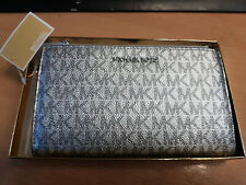 Michael Kors Metallic Signature Double Zip Wristlet Silver in Gold Gift Box