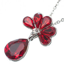 11.06 Ct Pear Cut Style Shape Red Garnet / Ruby CZ 18K White Gold Plated Pendant