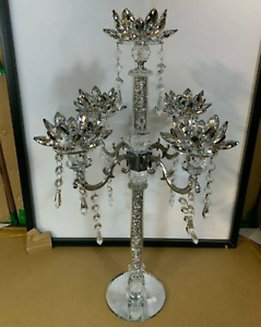 Crushed Diamond 5 Candle Holder Faceted Balls Sparkly Decorative Silver Crystal