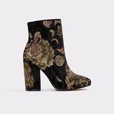 ALDO Fiery Black Embroidery Ankle Boots Size UK 4 EU 37 Boho Style New In Box