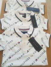 Tommy Hilfiger Baby Boys Shortall Romper White With Hillfiger Logo All Over 12M