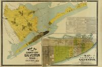 Map of the county and city of Galveston TX c1891 repro 36x24