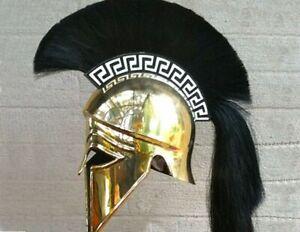 Medieval Spartan Wearable Greek Corinthian Helmet with Leather Liner plume