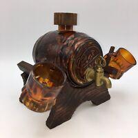 Vintage Amber Glass Mini Barrel Keg Beer Ale Mugs Brass Spout Mid Century Modern