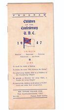 New listing 1947 Children of the Confederacy U.D.C Program. Clemson, Sc.