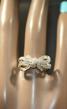 Sterling Silver Ribbon/Bow Ring With CZ's
