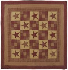 VHC Brands Ninepatch Star Luxury King Quilt 120Wx105L Country Patchwork Design,