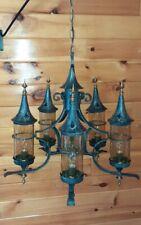 Antique/Vtg Gothic Chandelier Medieval Spanish Wrought Iron Chandelier Light