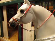 Jaapi RED/SILVER ornate Arabian halter - fits Breyer/Peter Stone model horses