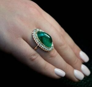 925 Sterling Silver Gold Plated Green Cabochon Halo Diamond Studded Womens Ring