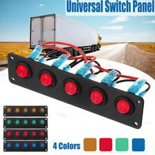 12V/24V Waterproof RV Boat Marine 5 Gang LED Rocker Switch Panel Circuit