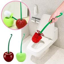 Red/Green Cherry Shaped Toilet Brush Holder Set Bathroom Cleaning Kit Cleaner Cr