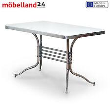 AMERICAN DINER Tisch Weiß: Retro 50er Chromgestell GASTRONOMIE  Sofort  Lieferbar