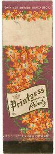 Printzess Fashioned By Printz, Pringting Business Vintage Matchbook Cover