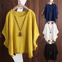 Women Summer Short Sleeve Loose Plus Tops Blouse Ladies Irregular Vintage Shirt