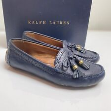 Ralph Lauren UK 4.5 blue leather slip on loafer moccasin flat comfy shoes casual