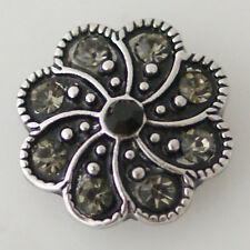 Button Charm 18mm Jewelry Interchangeable Fits Ginger Snaps Black Swirl Snap