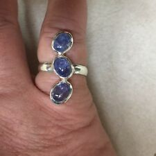 $399 GENUINE NATURAL 7x5mm. TOP BLUE VIOLET TANZANITE STERLING SILVER RING 9