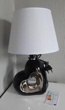 moderne DEKO Skulptur Lampe schwarz Nachttisch Herz Design leuchte Keramik