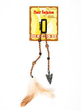 """Pirate hair fashion E-Z clip 5"""" brown beads with metal arrowhead and feather"""