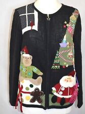 CJ Banks Ugly Christmas sweater Black Sz M Santa Bears Tree Buttons Felt 2010