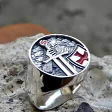Men's Ring Knights Templar Red Cross Stainless Steel Retro Biker Punk Jewelry