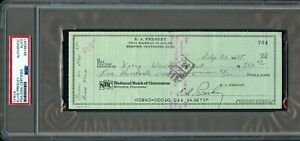 NOV 1975 ELVIS PRESLEY THE KING HAND SIGNED BANK PERSONAL CHECK AUTO PSA/DNA