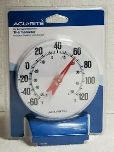 """Acurite Analog Thermometer 5"""" Dial Indoor Outdoor NEW"""