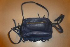 LUCKY BRAND Navy Leather Shoulder Crossbody Bag Handbag Purse Hobo Fringed Small
