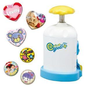 "BANDAI Button Badge Maker ""Can Badge good! plus!"" 20 Badges Heart + Regular Toy"