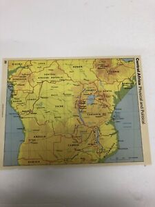 Map Print 1987: Central Africa And Mozambique Physical & Political Maps Macmill