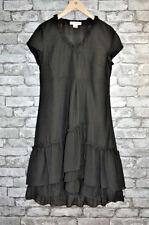 Women's Elegant A-Line Black Short Sleeved Ruffled Lined Layered Dress Size 14
