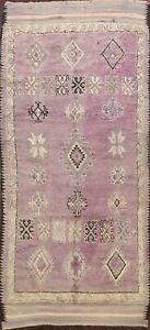 Antique Authentic Moroccan Berber Oriental Area Rug Vegetable Dye Handmade 5x12